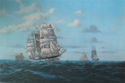 18thC painting of ship in full sail
